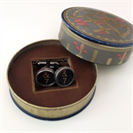 Typewriter-key cufflinks in a vintage Art Deco Halverson's tin - black '7' keys