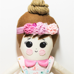 Flower crown cloth rag doll