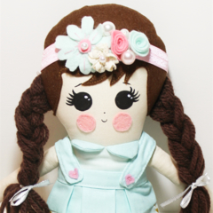 Powder blue cloth rag doll