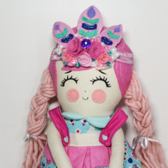 Flower crown cloth girl rag doll