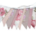 Country Check Lace Floral Flag Bunting + Lace. Party, Wedding decoration.