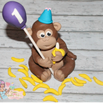 1x Monkey Banana's & Balloon Edible Cake Topper 6-10cm