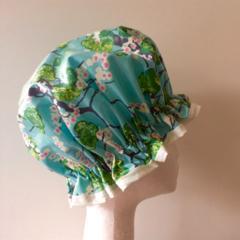 Handmade Laminated Cotton Shower Cap - PVC FREE. Designer Fabric. Gift Idea