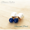 Navy Resin and Pearl Double Ball Earrings