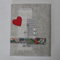 Linen Covered A5 Journal with Heart & Liberty trim
