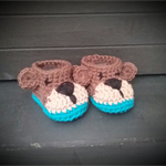 Crochet Teddy bear booties. 3-6 month old size