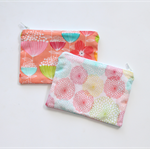 Small zippered cotton coin pouch purse • peach white floral chrysanthemum