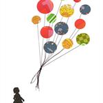 Balloon Print. Illustration. Art. Wallpaper. Collage. Sketch. Vintage. Balloons.