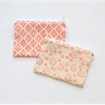 Small zippered cotton coin pouch purse • pink cream damask buttons
