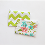 Small zippered cotton coin pouch purse • blue pink green floral tropical chevron