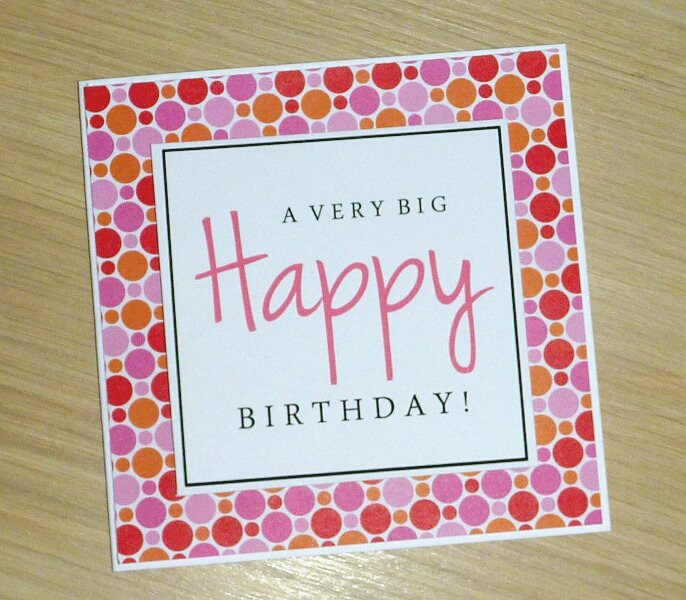 modern female happy birthday card a very big happy birthday spots vicki g. Black Bedroom Furniture Sets. Home Design Ideas