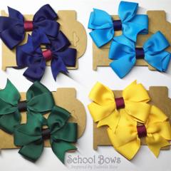 Pinwheel School Hair Tie Set (2) -  Custom Made in school colors