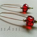 Argentium Sterling Silver and red Czech glass bead earrings