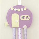 Caravan hair clips holder, felt, retro, lavender purple, pastel
