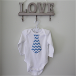 Baby Boy Tie Onesie Outfit Birthday Photo Prop Blue Chevron Gift Present
