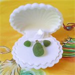 Gift set mermaid tumbled seaglass earrings and pendant