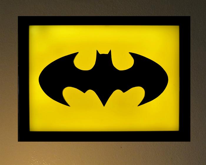 The Dark Knight Batman Symbol Wax Sculpture Painting Led Light Box
