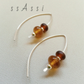 Argentium Sterling Silver and amber lampwork glass bead earrings