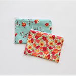 Small zippered cotton coin pouch purse • red yellow pink green blue floral