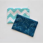 Small zippered cotton coin pouch purse • blue constellations chevron