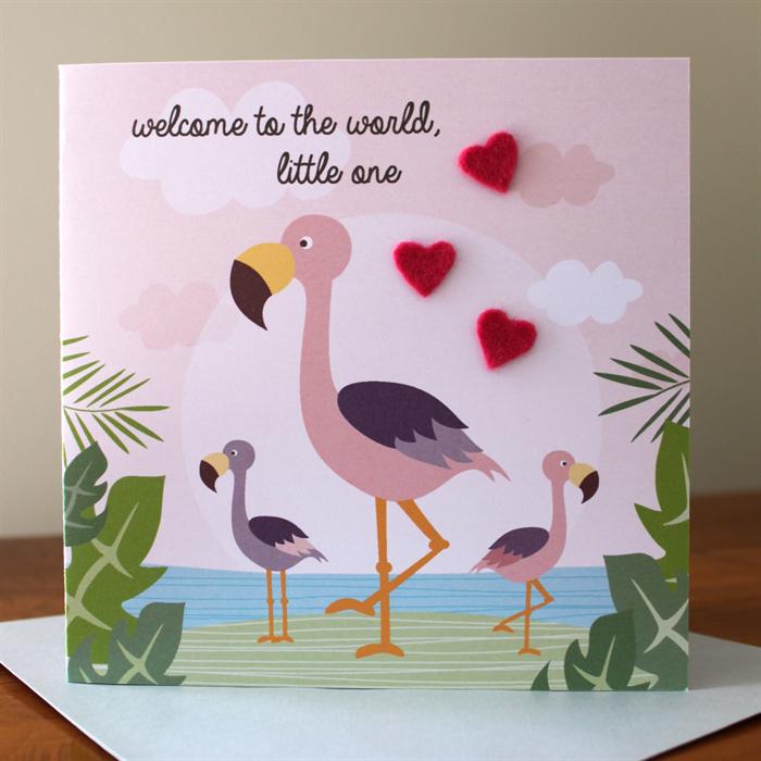 new baby card. baby shower card - flamingo card | yellow poppy, Baby shower invitations