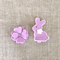 Set of 2, bunny rabbit and blossom, lavender peuple