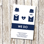 Groom and Groom - bowler hats - Save the Date - Printable and Personalised