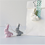 EASTER GIFT TAGS - handmade resin gift tags in bunny pink, grey and white