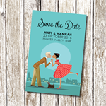 Cute Reto Vinatge kiss Save the Date - Personalised and Classic