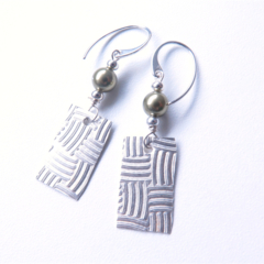 Wave pearl and sterling silver drop earrings