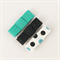 Mini black and turquoise glitter ribbon hair clip with tuxedo bow