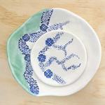 Ceramic nesting bowl set in blue and teal. Wedding engagement gift. Porcelain