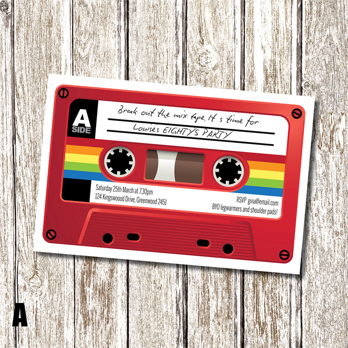 Mix Tape - 80\'s Themed Birthday Invitation - Personalised and ...
