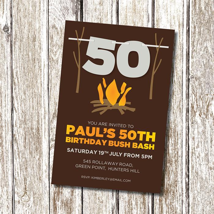 Bush Bash 50th Birthday Party Invitation - Personalised and ...