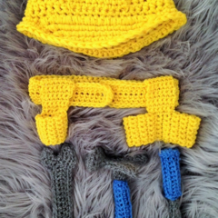 Crochet Hard Hat & Tool Belt Set