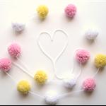 Yarn Pom Pom Garland - springtime colours - pink lemon and white - (Easter)