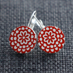 Red Flowers~ Lever Back Earrings