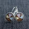 Pastel Woodgrain Geo ~  Lever Back Earrings