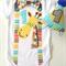 Animal Giraffe Theme Boys 1st Birthday Onesie and Party Hat.