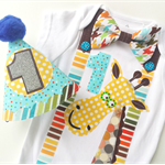 Animal Giraffe Theme Boys 1st Birthday Onesie and Party Hat.