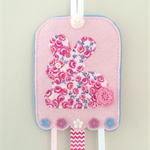 Easter bunny rabbit hair clips holder, felt, light pink, blue, Liberty fabric