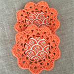Crochet mug/teapot doily coaster in orange, teacher gift