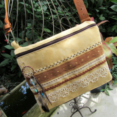 Ladies Shoulder/ Crossbody/ Messenger bag- Faux Suede with Dreamcatcher