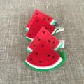 Watermelon hair clip, red, green, grosgrain ribbon covered clip, snap clip