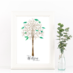 "Personalised Family Tree - 8x10"" Print - Unique Home Decor"