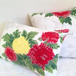 Cushion covers Mid-century Barkcloth fabric Chrysanthemums decorative decor