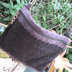 Ladies Shoulder/Crossbody or Messenger Bag - Aubergine Faux Suede & Black Lace