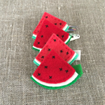 Watermelon hair clip, red, green, grosgrain ribbon covered clip, snap clip
