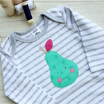 Pear baby suit / smile pear face baby onesie / fruit green pink / happy pear