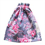 Library Bag Drawstring - Pink Floral Flowers on Grey - LIB121